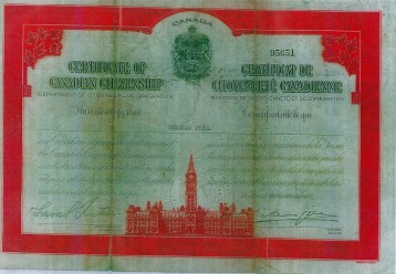 Herman Perl's Canadian citizenship papers, received in December 1956