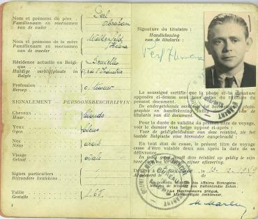 Herman Perl's Belgian Passport