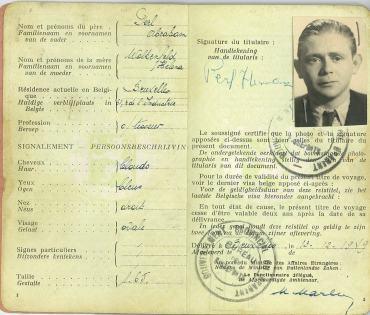 Herman Perl's Belgian Passport